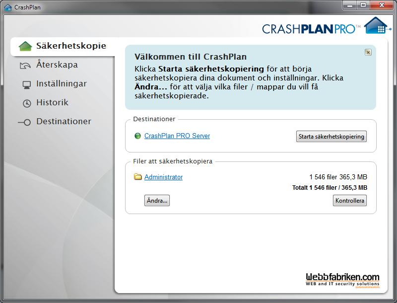 Webbfabriken Online Backup och lagring på nätet